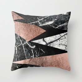 Elegant Modern Marble, Rose Gold, & Black Foil Triangles Throw Pillow