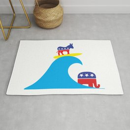 Democratic Donkey Riding Midterm Eection Blue Wave Rug