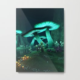 Luminous Mushrooms Metal Print