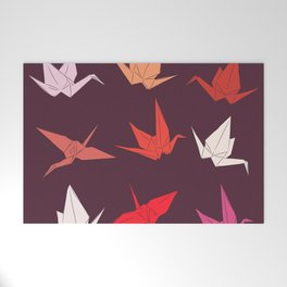 Japanese Origami paper cranes sketch, symbol of happiness, luck and longevity Welcome Mat