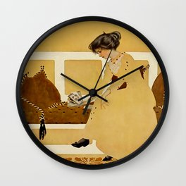 """C Coles Phillips 'Fadeaway Girl' """"Discarding From Strength"""" Wall Clock"""