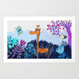 Giraffeland Art Print