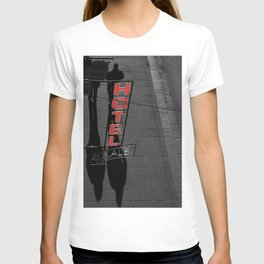 Street Photography Black and White and Red Hotel Italian T-shirt