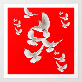 FLOCK OF WHITE PEACE DOVES ON RED COLOR Art Print