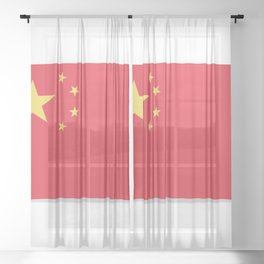 Flag of China. The slit in the paper with shadows. Sheer Curtain