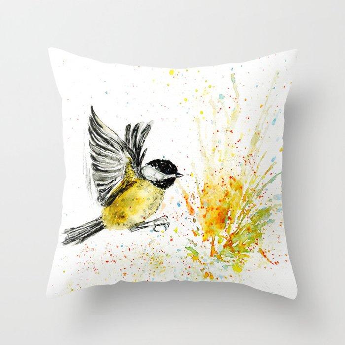 Chickadee`s flight Throw Pillow