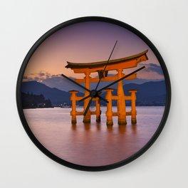 II - Miyajima torii gate near Hiroshima, Japan at sunset Wall Clock