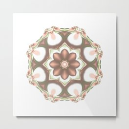 Pink and Green Round Kaleidoscope Floral Pattern Metal Print