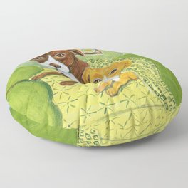 Pitbulls on patterned sheets Floor Pillow