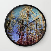 palm trees Wall Clocks featuring Palm Trees by Loveurstyle