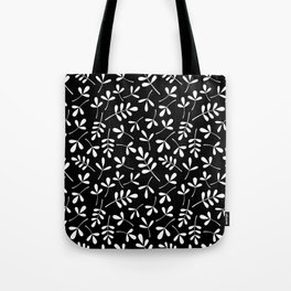 White on Black Assorted Leaf Silhouette Pattern Tote Bag
