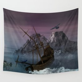 Awesome shipwreck in the night Wall Tapestry