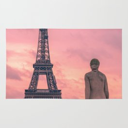 Pink View of Eiffel Tower Paris France Rug