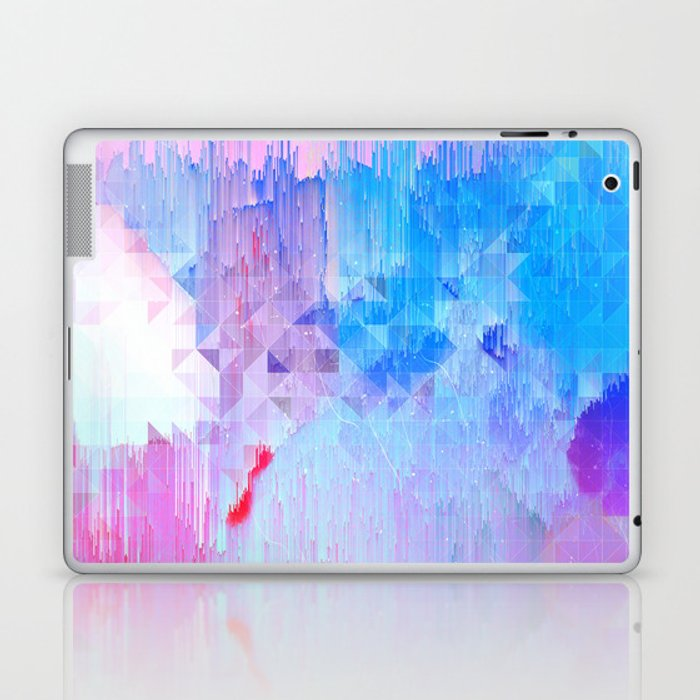 Abstract Candy Glitch - Pink, Blue and Ultra violet #abstractart #glitch Laptop & iPad Skin