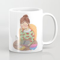 reading Mugs featuring Reading by Maria Garcia