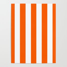 Maximum orange - solid color - white vertical lines pattern Poster