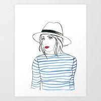 Stripes & Red Lips Art Print