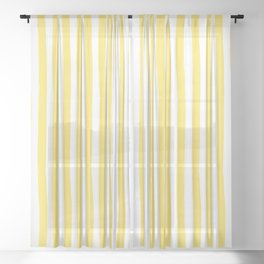 Yellow and White Cabana Stripes Palm Beach Preppy Sheer Curtain