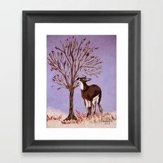 Deer by the tree Framed Art Print