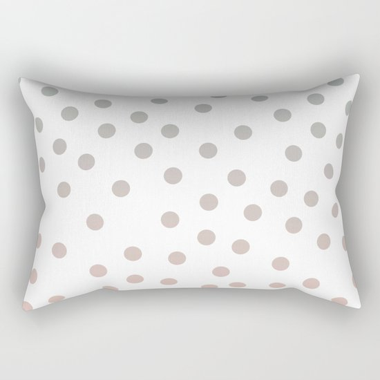 Simply Dots in Coral Peach Sea Green Gradient on White Rectangular Pillow