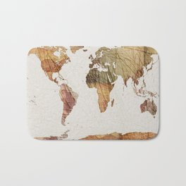 Vintage Currency World Map Bath Mat