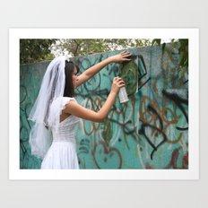 Graffiti Bride Art Print