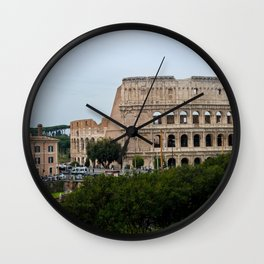 View to the Colosseum from the street, Rome, Italy Wall Clock