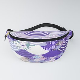 Nature background with japanese sakura flower, Cherry, wave circle. Ultra Violet Color of the Year Fanny Pack