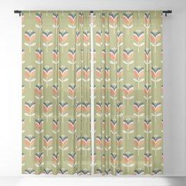 RETRO TULIP - ORANGE AND OLIVE GREEN Sheer Curtain
