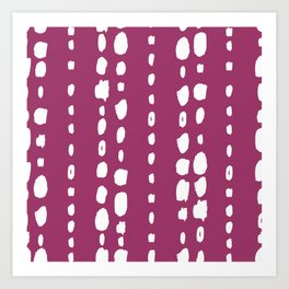 Magenta pink white abstract geometrical brushstrokes Art Print