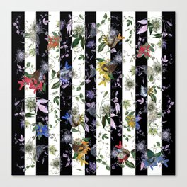Vibrant Exotic Floral on Black and White Stripes Canvas Print