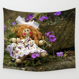 Clothes Peg Doll and Flowers Wall Tapestry