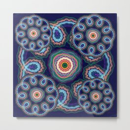 Fantasy flowers with swirling tribal patterns Metal Print