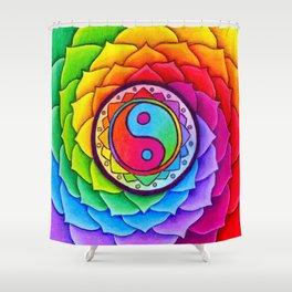 Healing Lotus Rainbow Yin Yang Mandala Shower Curtain