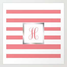 Monogram Letter H in Pink with Silver Frame Art Print
