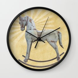 Vintage rocking horse - Toy Photography #Society6 Wall Clock