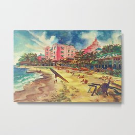 Hawaii's Famous Waikiki Beach - United Air Lines Vintage Travel Poster Metal Print