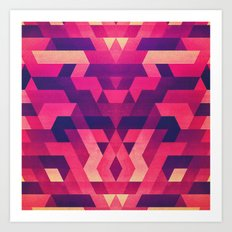 Abstract symmetric geometric triangle texture pattern design in diabolic future red Art Print