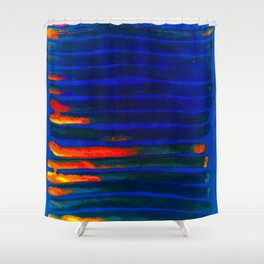 Midnight Blue Lava Lines, Our Earth Burn Marks Shower Curtain