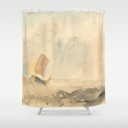 """J.M.W. Turner """"A Sea Piece - A Rough Sea With A Fishing Boat"""" Shower Curtain"""