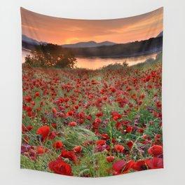 Poppies at the lake at sunset Wall Tapestry