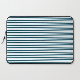 Teal blue and white thin horizontal stripes Laptop Sleeve