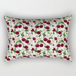 Blush pink burgundy cherries blossom floral pattern Rectangular Pillow