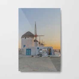 Mykonos Windmills by Pupina Metal Print