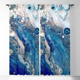 Blue Marbled Fluid Painting Unique Swirls Water Blackout Curtain