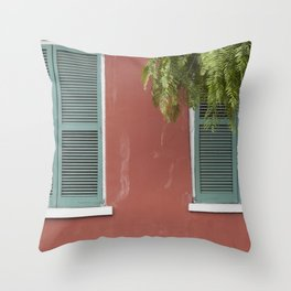 New Orleans Teal Shutters Throw Pillow