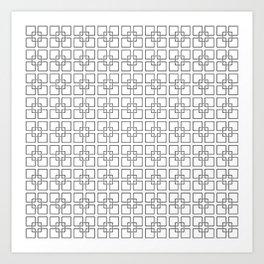Black Interlocking Geometric Square Pattern on White Art Print