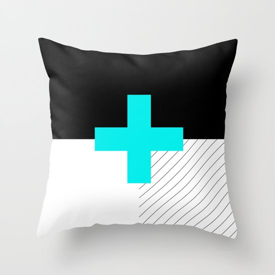 Neon Cross (Blue) // Neon Plus (Blue) Throw Pillow