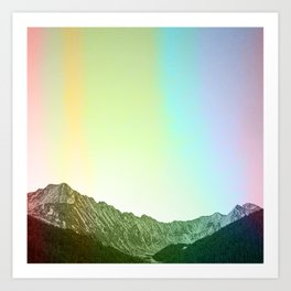 Rainbow Ridge Snow Capped Mountain Range \\ Colorado Landscape Photography \\ B&W Ski Season Art Art Print