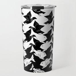 fish and birds tessellation art deco Travel Mug